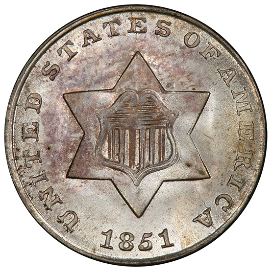 Picture of 1851 SILVER 3CS, TYPE 1 MS67