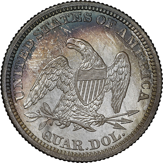 Picture of 1864 LIBERTY SEATED 25C, NO MOTTO PR68