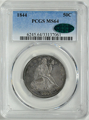 Picture of 1844 LIBERTY SEATED 50C, NO MOTTO MS64