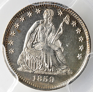 Picture of 1859 LIBERTY SEATED H10C, DRAPERY PR66 Cameo