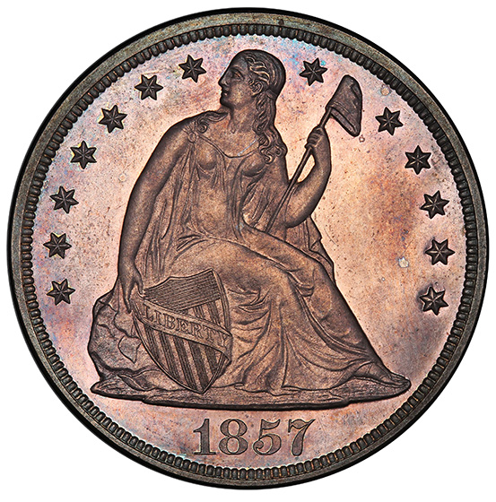 Picture of 1857 LIBERTY SEATED S$1, NO MOTTO PR65