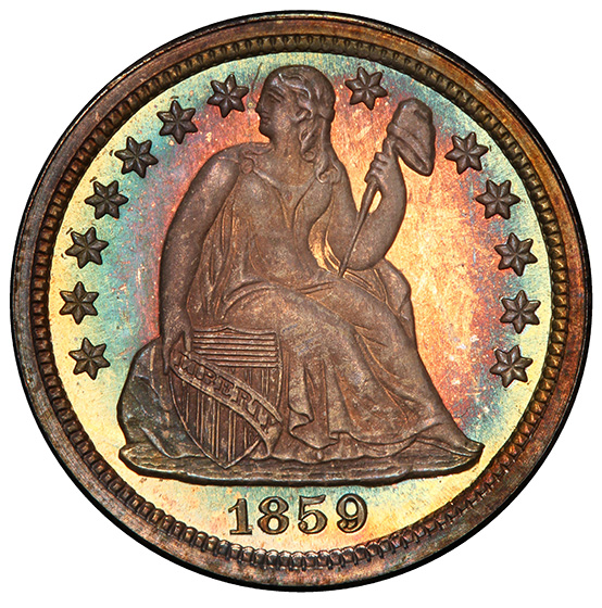 Picture of 1859 LIBERTY SEATED 10C, DRAPERY PR67