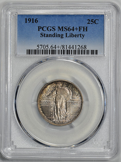 Picture of 1916 STANDING LIBERTY 25C MS64+ Full Head