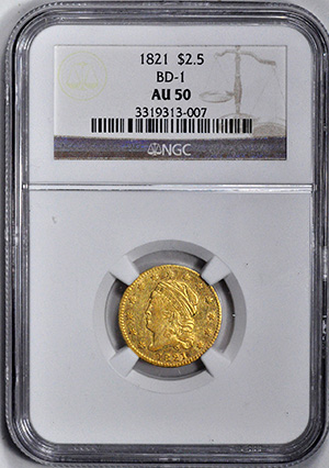 Picture of 1821 CAPPED BUST $2 1/2, LG DENT. AU50