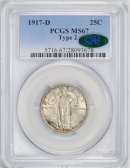 Picture of 1917-D STANDING LIBERTY 25C, TYPE 2 MS67