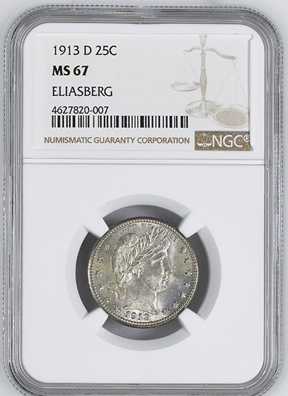 Picture of 1913-D BARBER 25C MS67