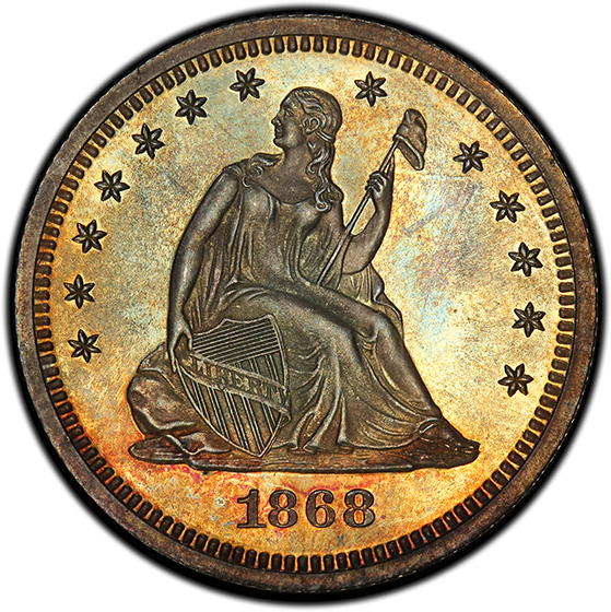 Picture of 1868 LIBERTY SEATED 25C, MOTTO PR66