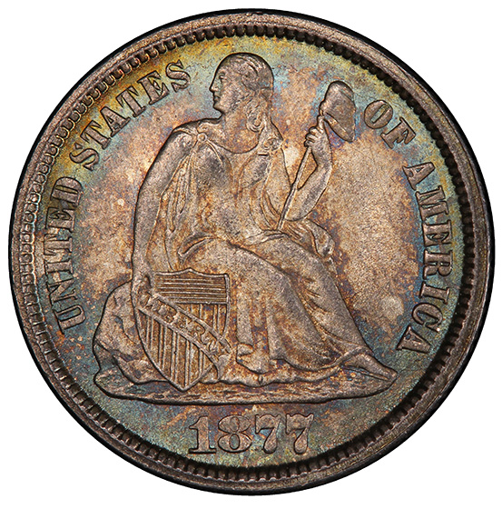 Picture of 1877-CC LIBERTY SEATED 10C, LEGEND MS67