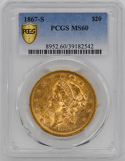 Picture of 1867-S LIBERTY $20 MS60