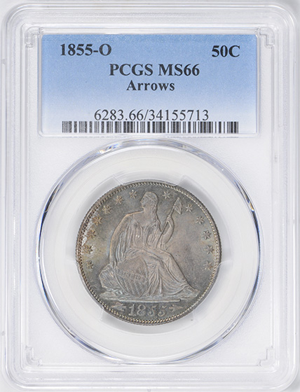 Picture of 1855-O LIBERTY SEATED 50C, ARROWS, NO MOTTO MS66