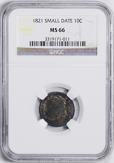 Picture of 1821 CAPPED BUST 10C, SMALL DATE, LARGE DENTICLES MS66
