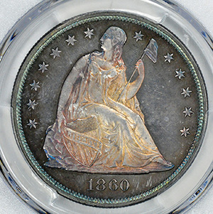 Picture of 1860 LIBERTY SEATED S$1, NO MOTTO PR66