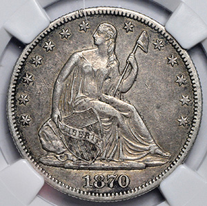 Picture of 1870-CC LIBERTY SEATED 50C, MOTTO AU50