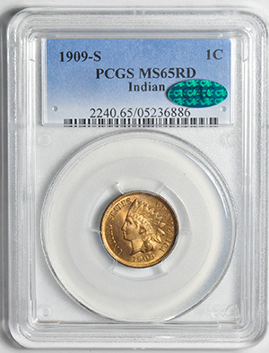 Picture of 1909-S INDIAN BRONZE 1C, INDIAN MS65 Red