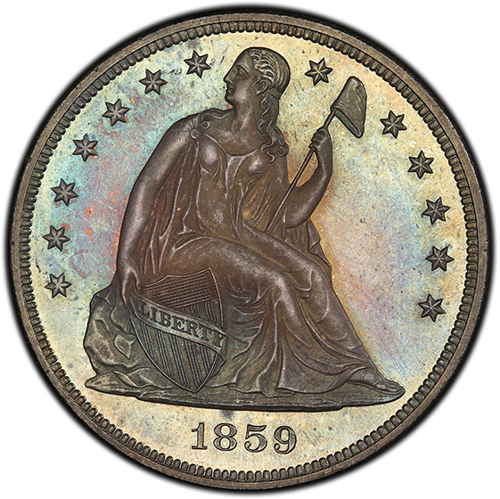 Picture of 1859 LIBERTY SEATED S$1, NO MOTTO PR65
