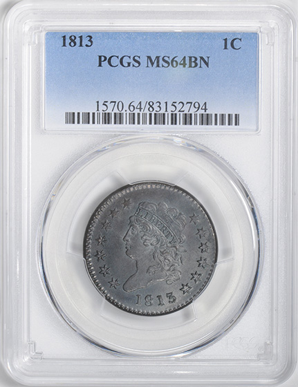 Picture of 1813 CLASSIC HEAD 1C MS64 Brown