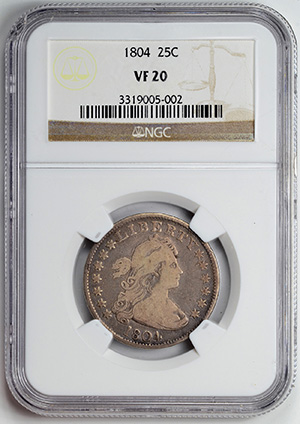 Picture of 1804 DRAPED BUST 25C, LARGE EAGLE VF20