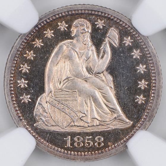 Picture of 1858 LIBERTY SEATED 10C PR67+ Cameo