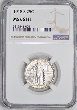 Picture of 1918-S STANDING LIBERTY 25C, TYPE 2 MS66 Full Head