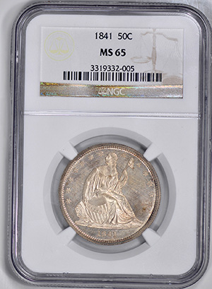 Picture of 1841 LIBERTY SEATED 50C, NO MOTTO MS65
