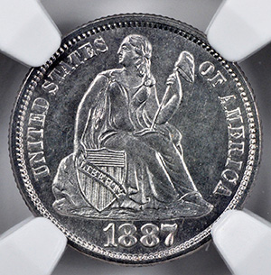 Picture of 1887-S LIBERTY SEATED 10C, LEGEND MS67