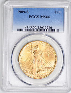 Picture of 1909-S ST. GAUDENS $20, MOTTO MS66