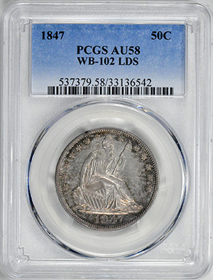 Picture of 1847/6 SEATED LIBERTY 50C, LATE DIE STATE AU58