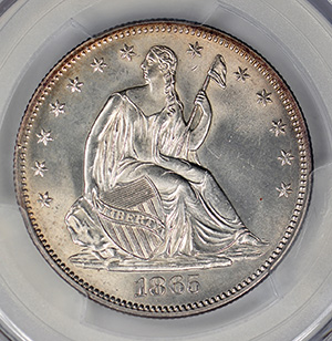 Picture of 1865 LIBERTY SEATED 50C, NO MOTTO MS65
