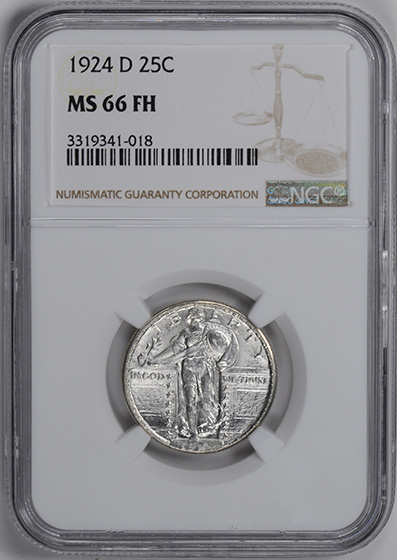 Picture of 1924-D STANDING LIBERTY 25C, TYPE 2 MS66 Full Head