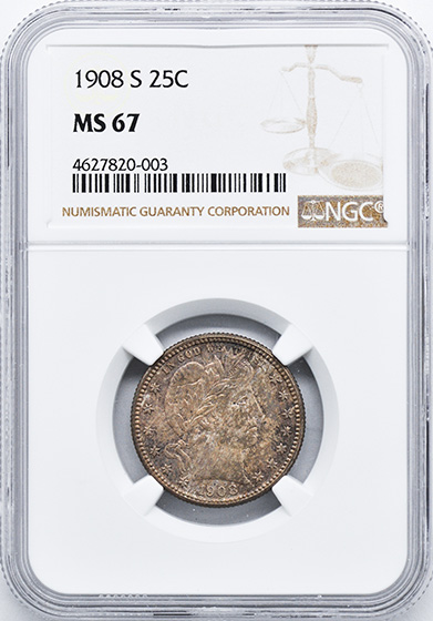Picture of 1908-S BARBER 25C MS67