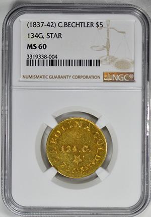 Picture of C BECHTLER $5, 134 GRAINS, STAR MS60