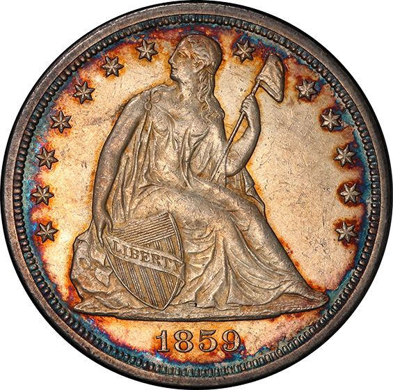 Picture of 1859-S LIBERTY SEATED S$1, NO MOTTO MS61