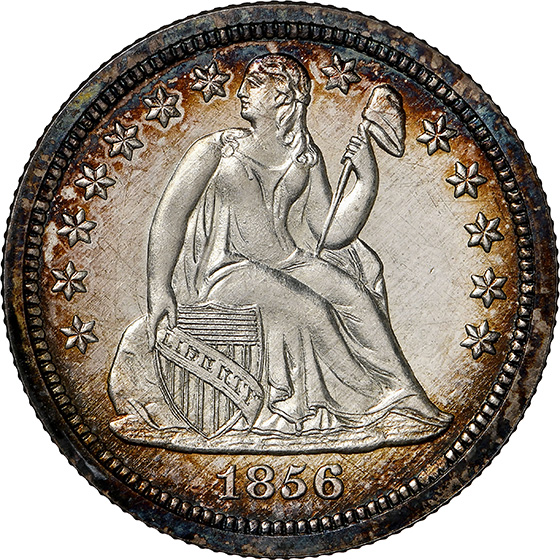 Picture of 1856 LIBERTY SEATED 10C, SMALL DATE, DRAPERY PR66