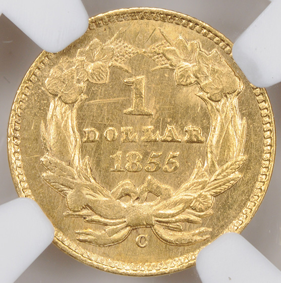 Picture of 1855-C GOLD G$1, TYPE 2 MS62