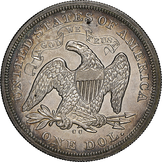 Picture of 1872-CC LIBERTY SEATED S$1, MOTTO MS63