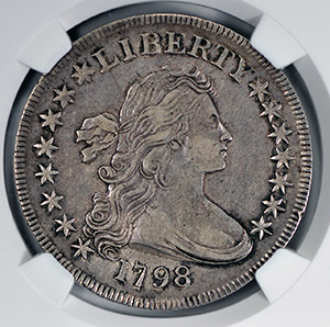 Picture of 1798 BUST $1, SMALL EAGLE 15 STARS AU53