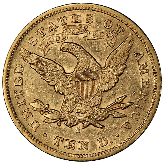 Picture of 1874-S LIBERTY $10, MOTTO AU53