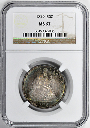Picture of 1879 LIBERTY SEATED 50C, MOTTO MS67