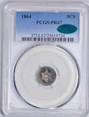 Picture of 1864 SILVER 3CS, TYPE 3 PR67