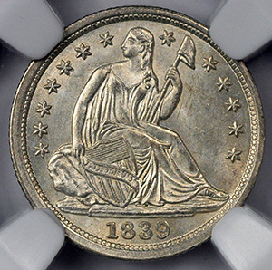 Picture of 1839 LIBERTY SEATED H10C, NO DRAPERY MS66