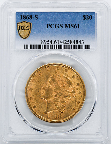 Picture of 1868-S LIBERTY $20 MS61