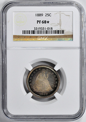 Picture of 1889 LIBERTY SEATED 25C, MOTTO PR68