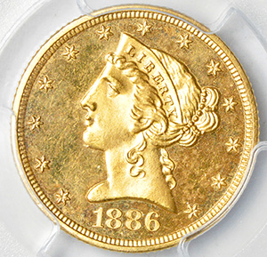 Picture of 1886 LIBERTY $5, MOTTO PR64 Cameo