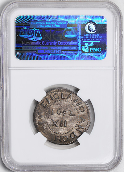 Picture of 1652 OAK TREE SHILLING, IN AT BOTTOM AU53