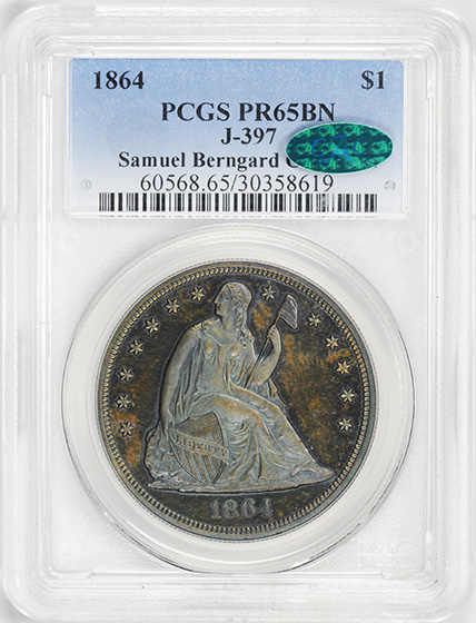 Picture of 1864 S$1 J-397 PR65 Brown