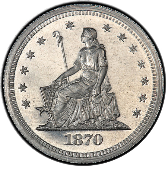 Picture of 1870 SEATED 25C J-886 PR65 Cameo