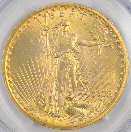 Picture of 1908 ST. GAUDENS $20, MOTTO MS65