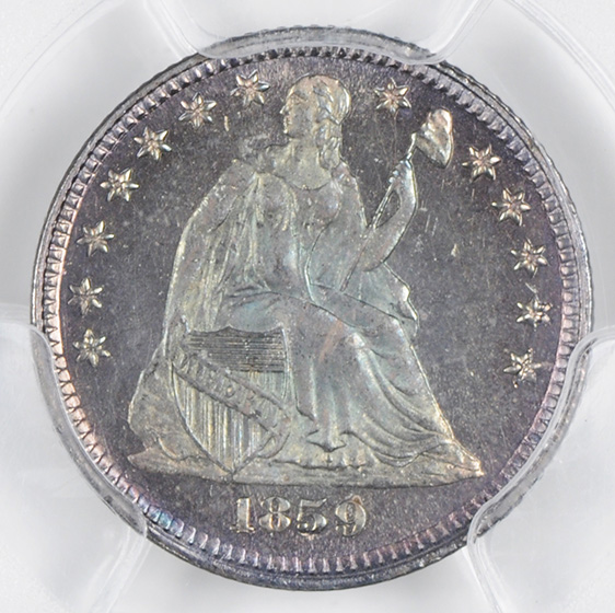 Picture of 1859 LIBERTY SEATED H10C, DRAPERY PR67