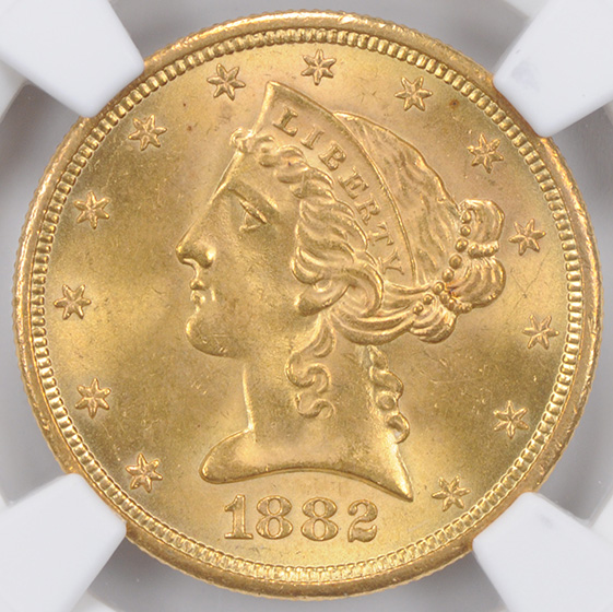 Picture of 1882-S LIBERTY $5 MS66