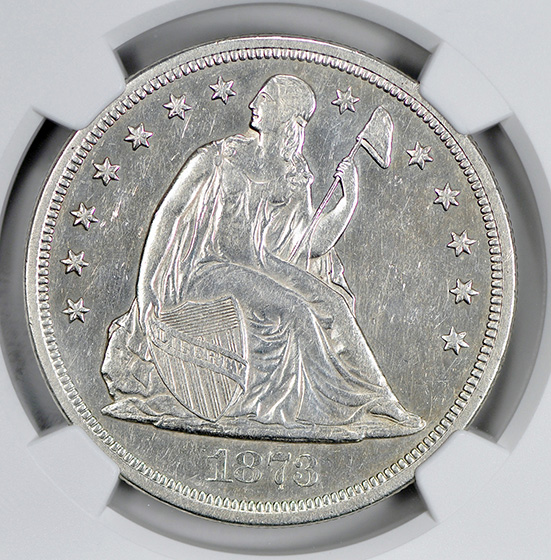 Picture of 1873-CC LIBERTY SEATED S$1, SEATED, MOTTO AU58